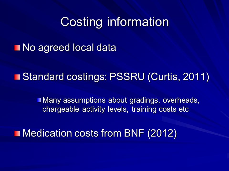 Costing information No agreed local data