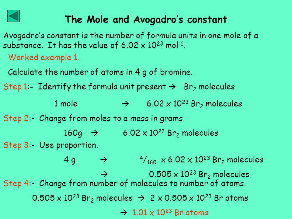 the mole concept and avogadros constant The mole concept is also applicable to the composition of chemical compounds for instance 3/19/2015 the mole and avogadro's constant - chemwiki.