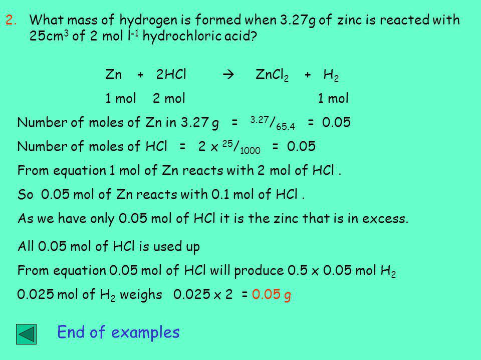 2. What mass of hydrogen is formed when 3
