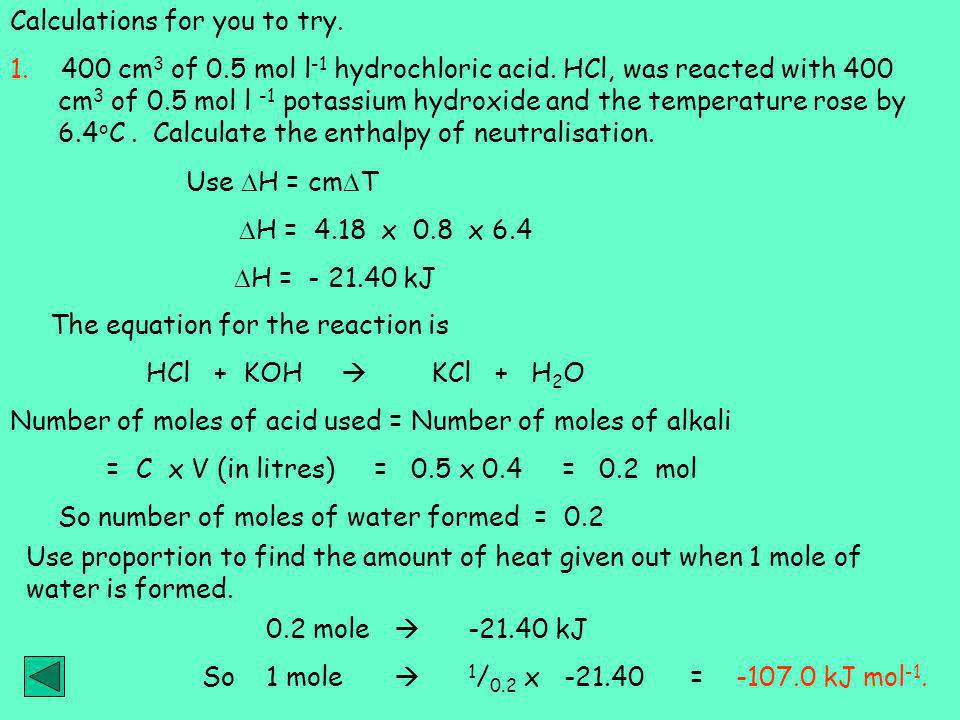 Calculations for you to try.