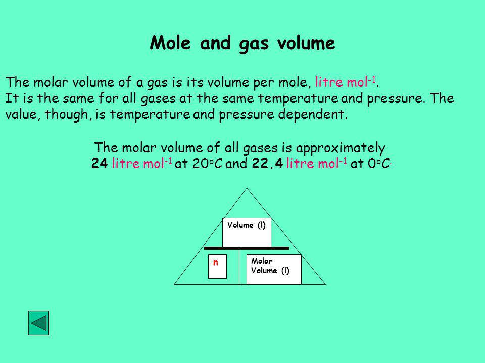 Mole and gas volume The molar volume of a gas is its volume per mole, litre mol-1.