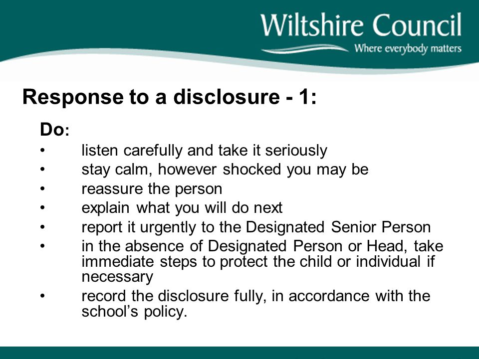 Response to a disclosure - 1:
