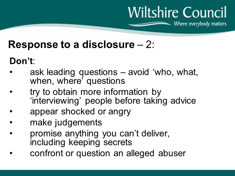 Response to a disclosure – 2: