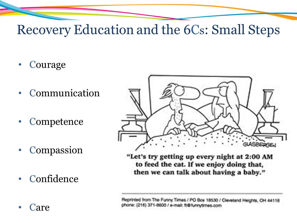 Recovery Education and the 6Cs: Small Steps