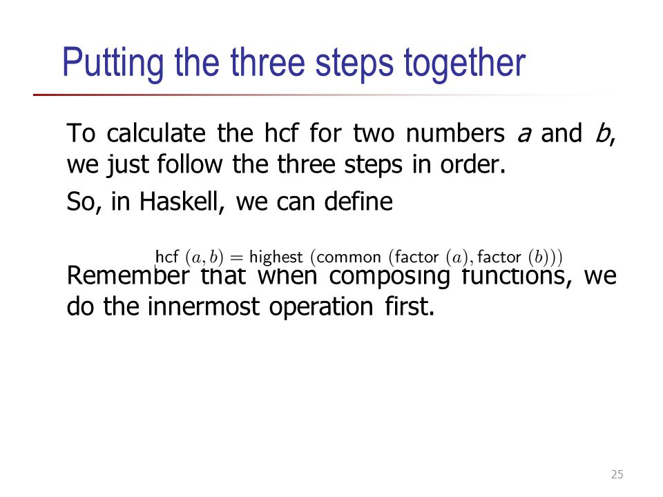 Putting the three steps together