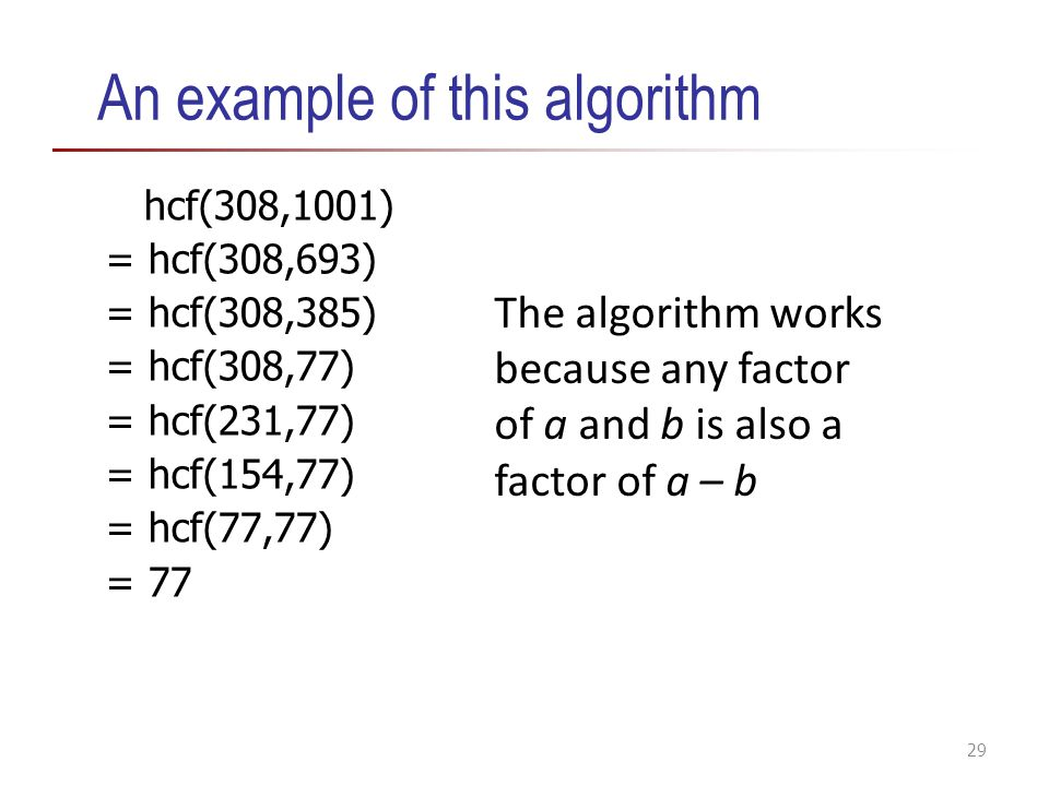 An example of this algorithm