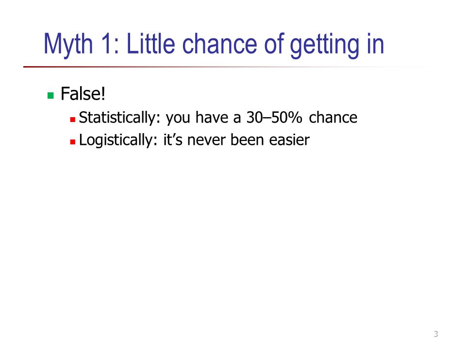 Myth 1: Little chance of getting in