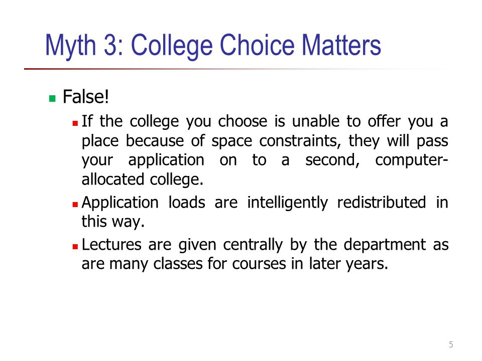 Myth 3: College Choice Matters
