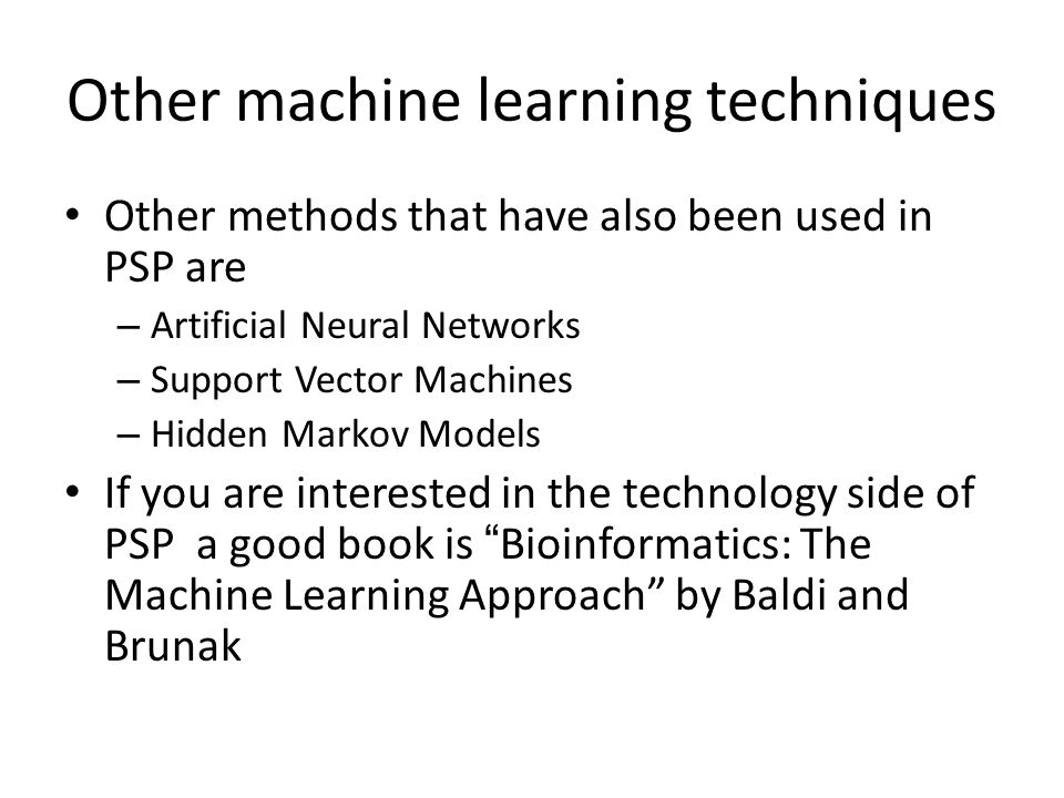Other machine learning techniques