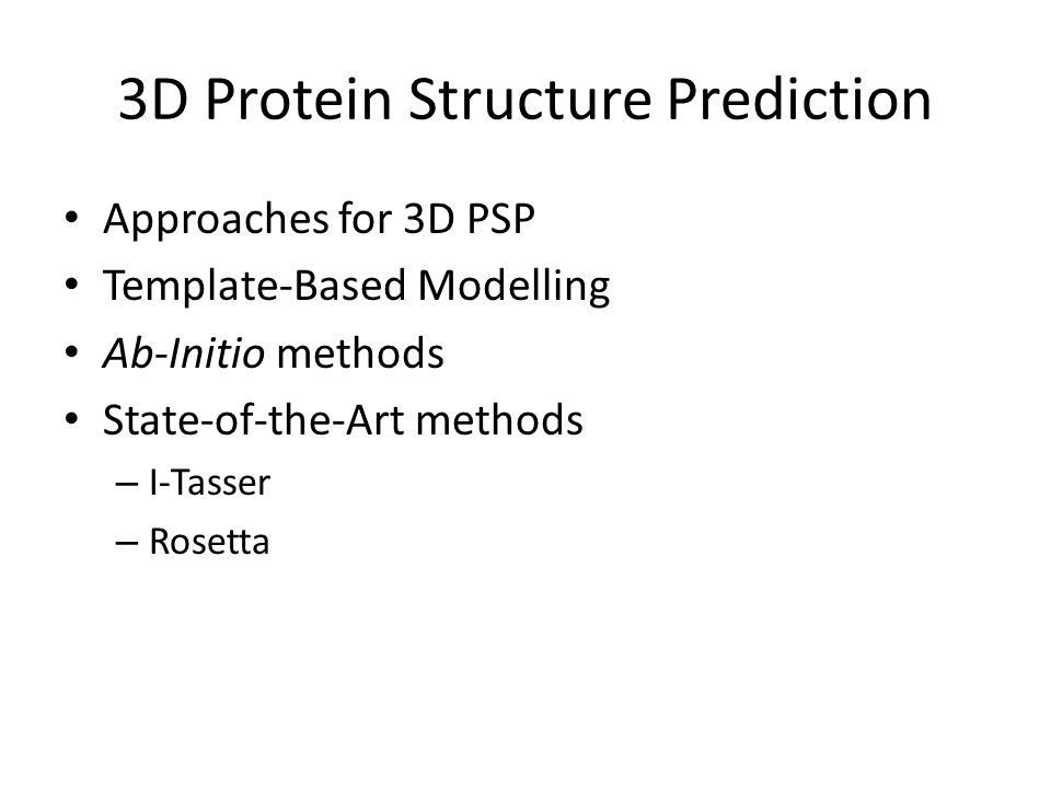3D Protein Structure Prediction