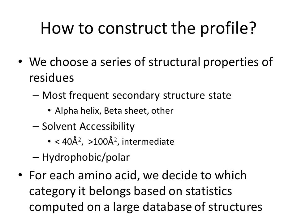 How to construct the profile