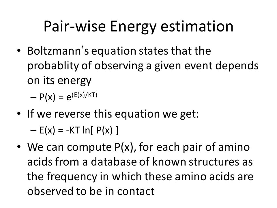 Pair-wise Energy estimation