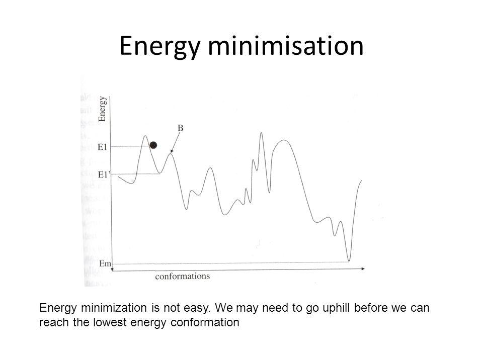 Energy minimisation Energy minimization is not easy.