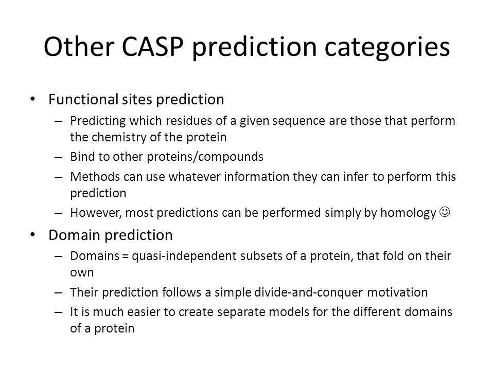 Other CASP prediction categories