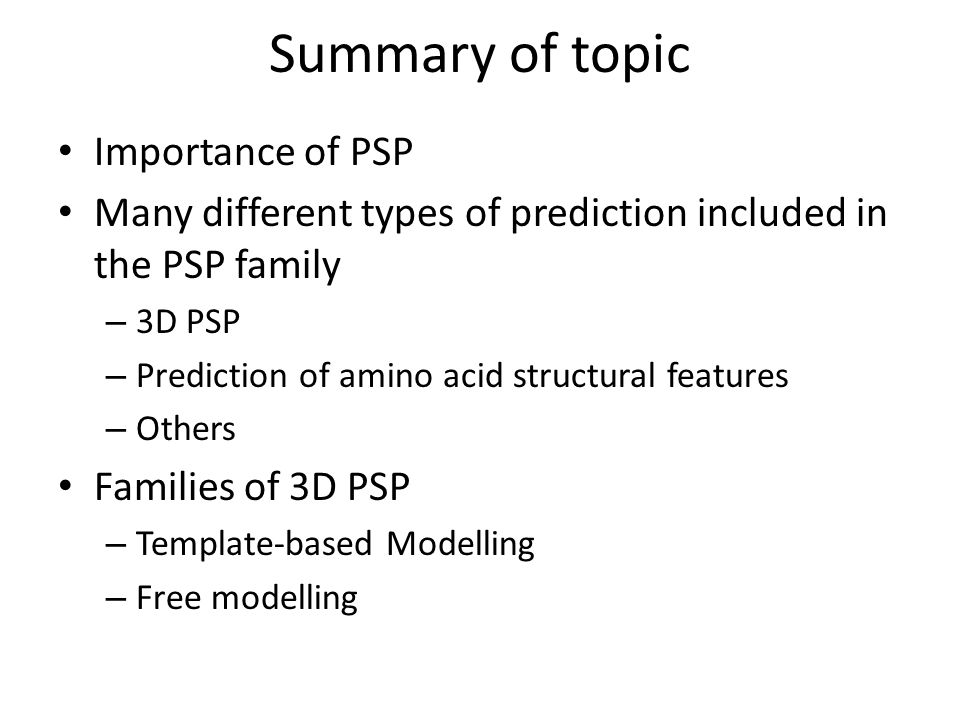 Summary of topic Importance of PSP