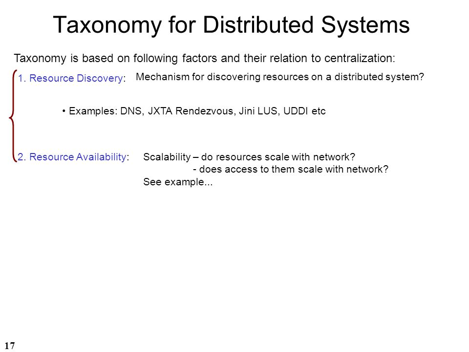Taxonomy for Distributed Systems
