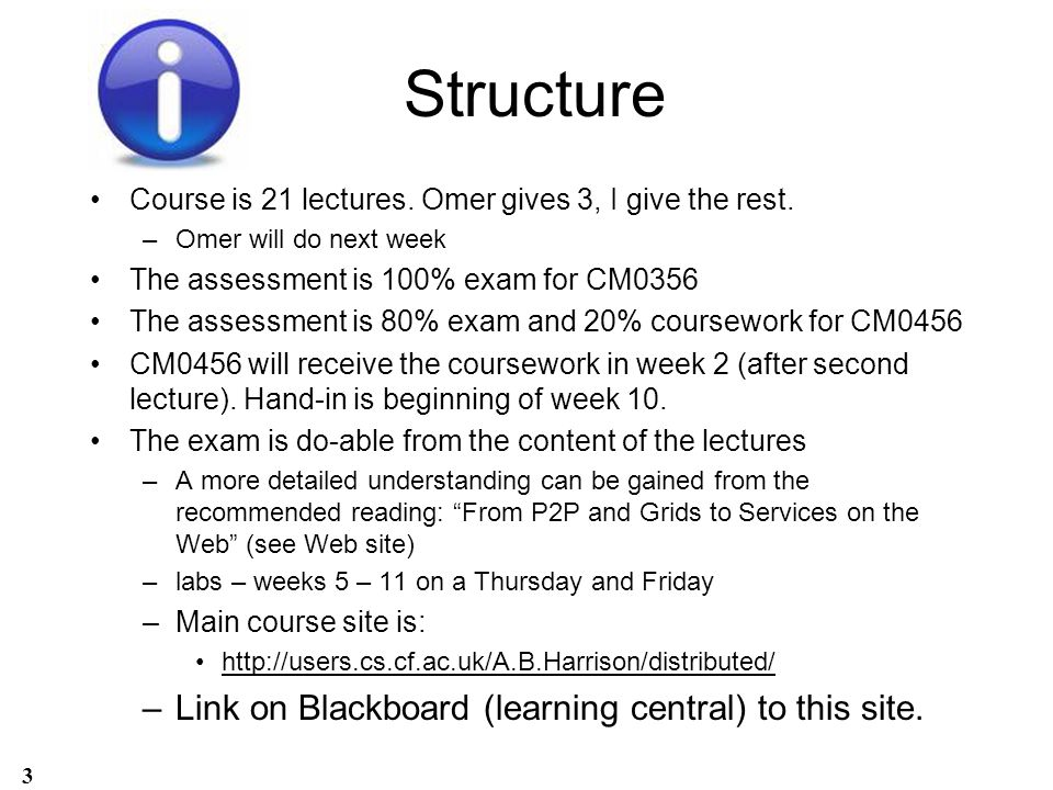 Structure Link on Blackboard (learning central) to this site.