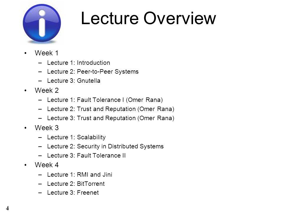 Lecture Overview Week 1 Week 2 Week 3 Week 4 Lecture 1: Introduction