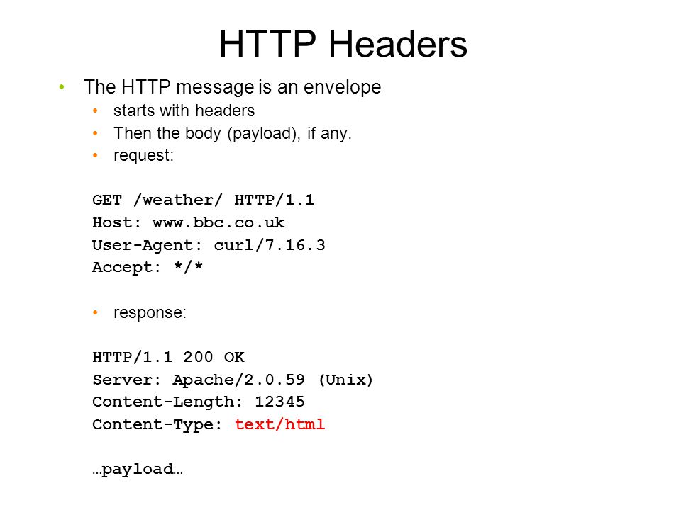 HTTP Headers The HTTP message is an envelope starts with headers
