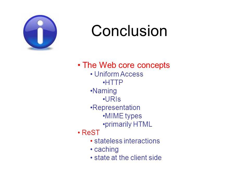 Conclusion The Web core concepts Uniform Access HTTP Naming URIs