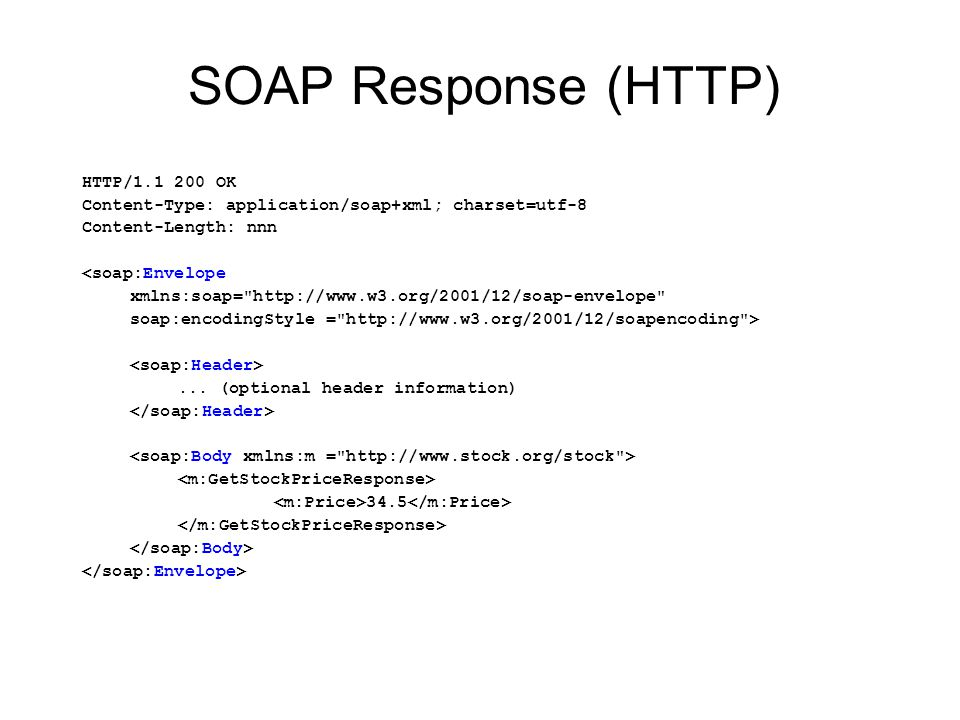 SOAP Response (HTTP) HTTP/1.1 200 OK
