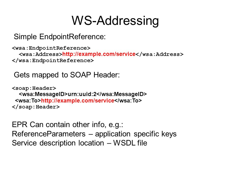WS-Addressing Simple EndpointReference: Gets mapped to SOAP Header: