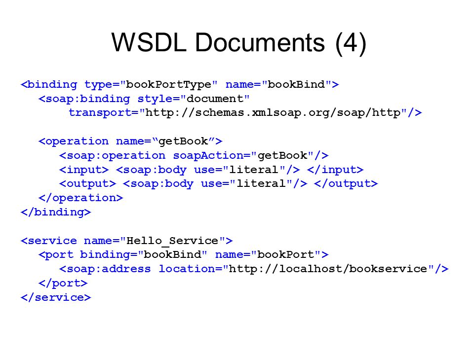 WSDL Documents (4) <binding type= bookPortType name= bookBind >