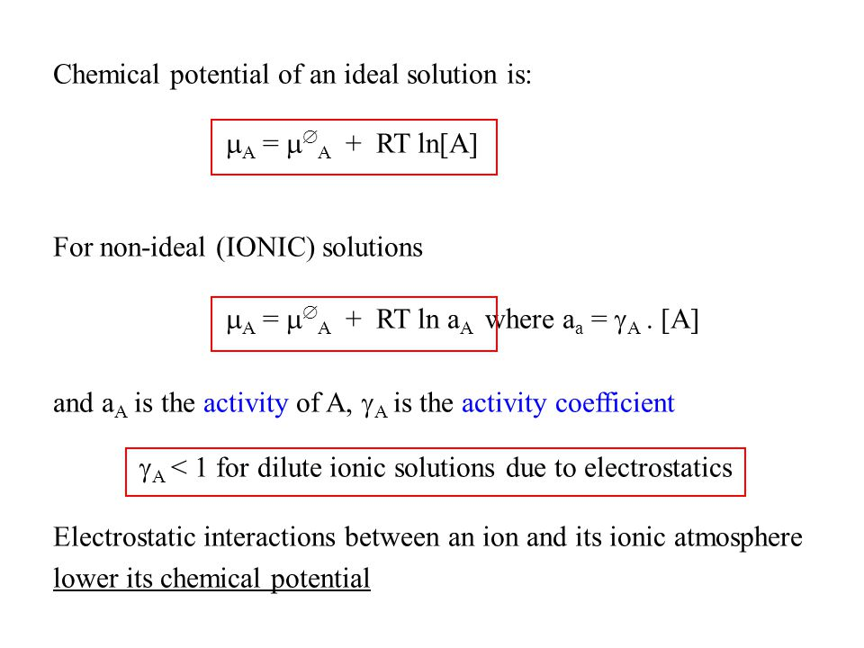 Chemical potential of an ideal solution is: