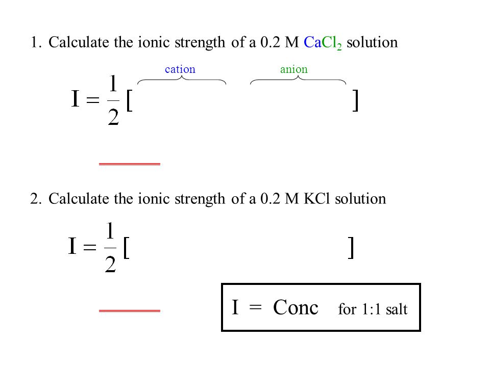 Calculate the ionic strength of a 0.2 M CaCl2 solution