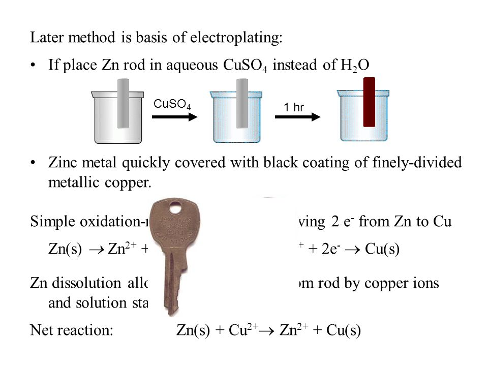 Later method is basis of electroplating: