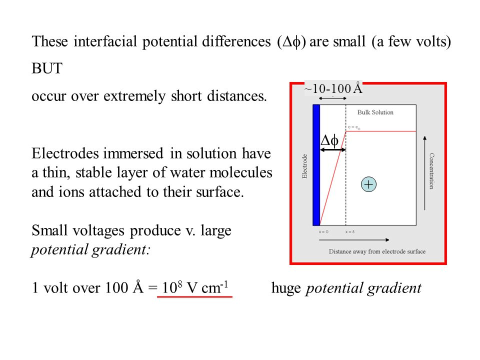 These interfacial potential differences () are small (a few volts)