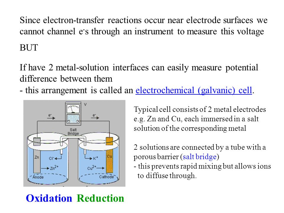 Since electron-transfer reactions occur near electrode surfaces we cannot channel e-s through an instrument to measure this voltage