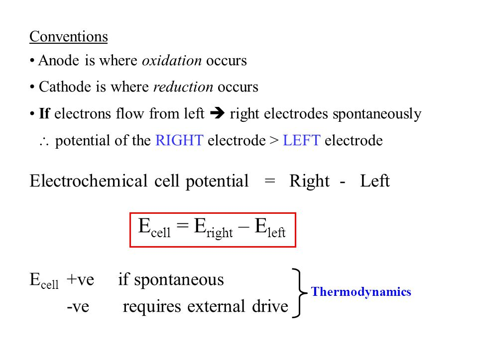 Ecell = Eright – Eleft Electrochemical cell potential = Right - Left