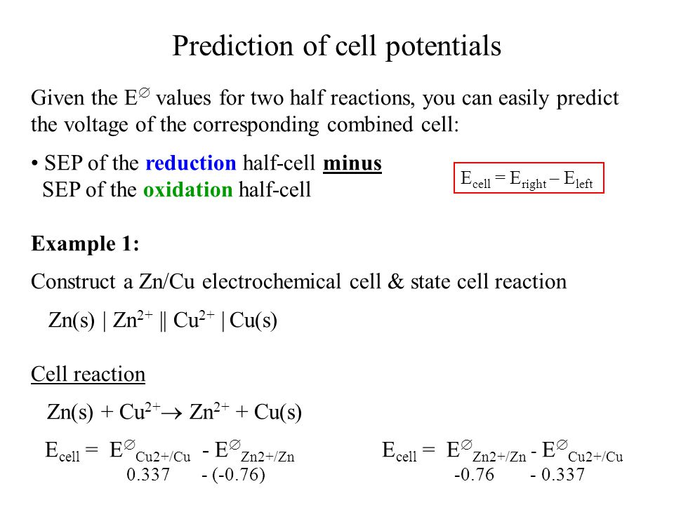 Prediction of cell potentials