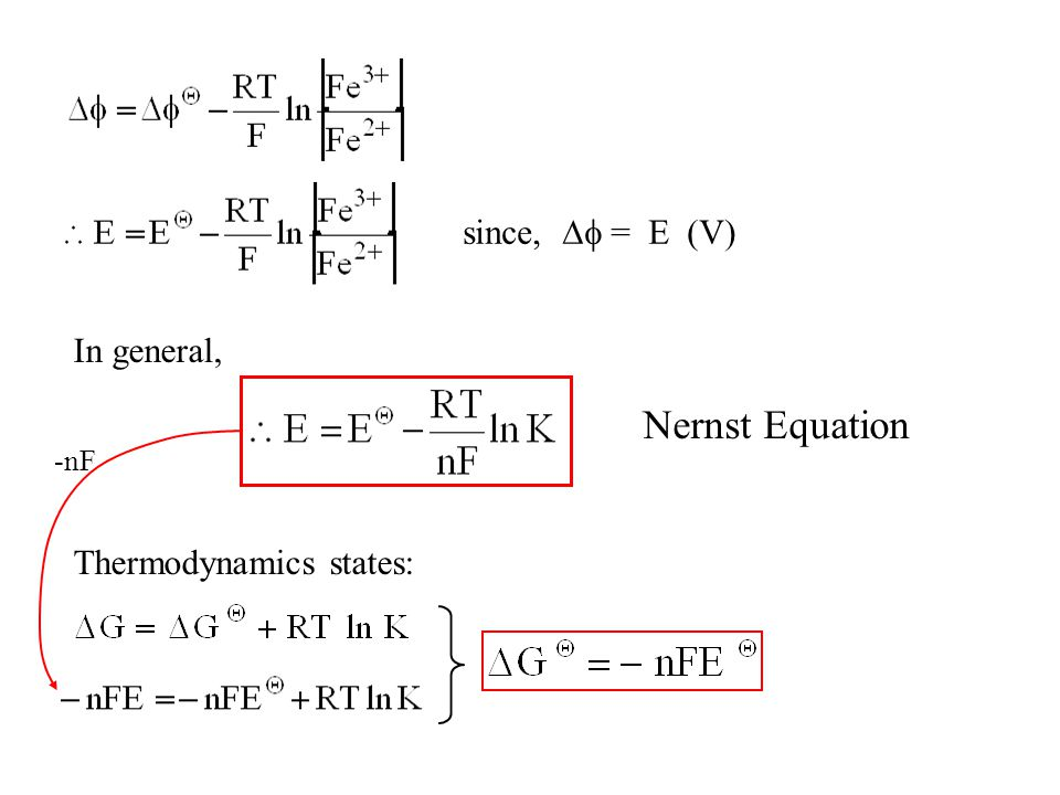 Nernst Equation since,  = E (V) In general, Thermodynamics states: