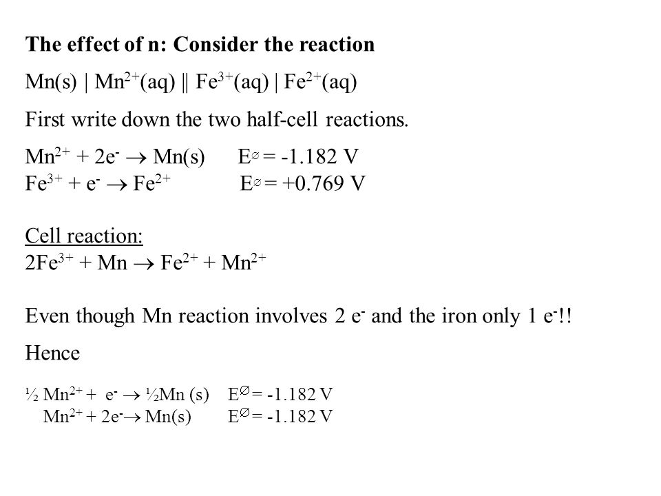 The effect of n: Consider the reaction