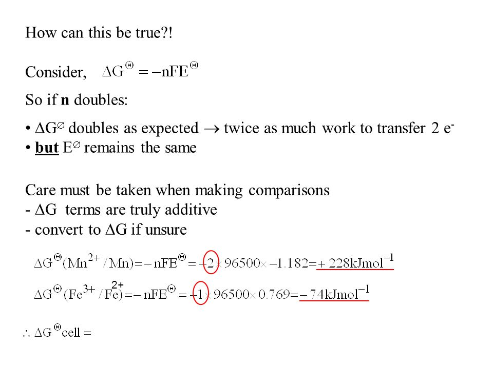 G doubles as expected  twice as much work to transfer 2 e-