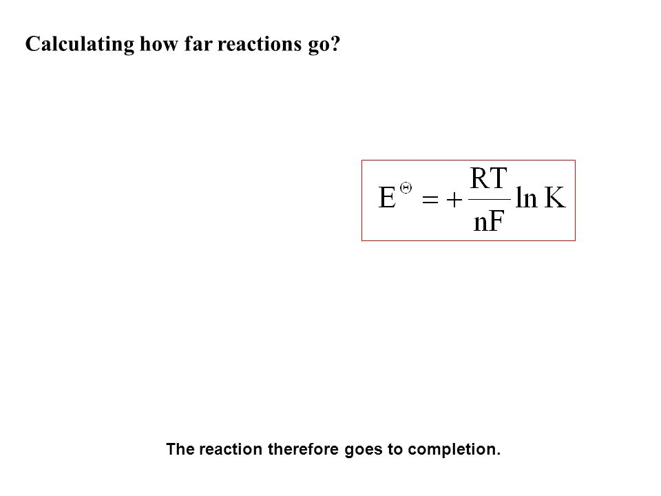 Calculating how far reactions go