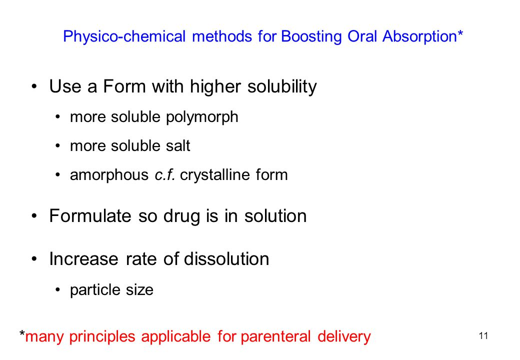 Physico-chemical methods for Boosting Oral Absorption*