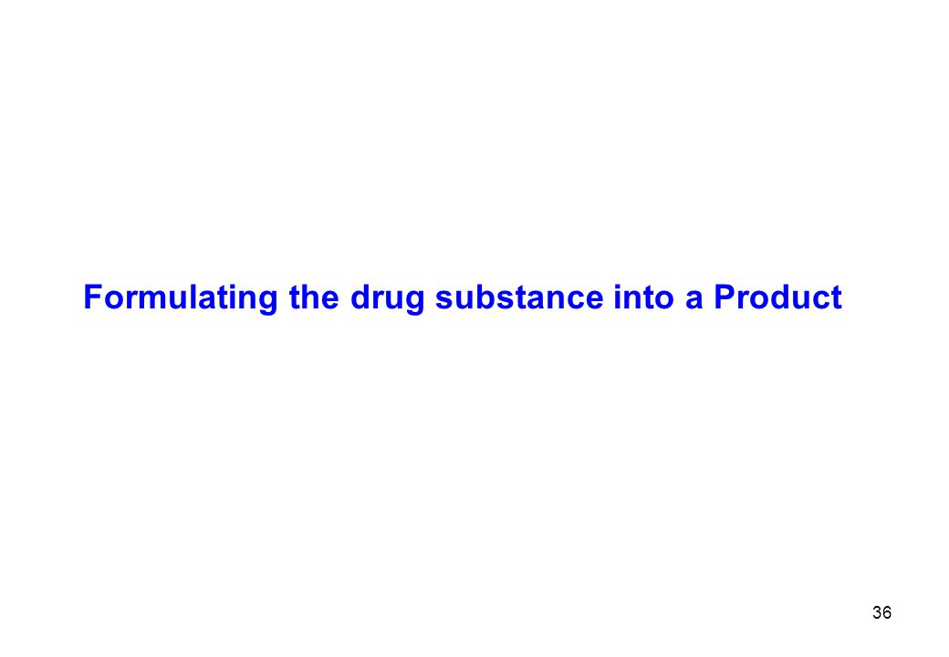 Formulating the drug substance into a Product