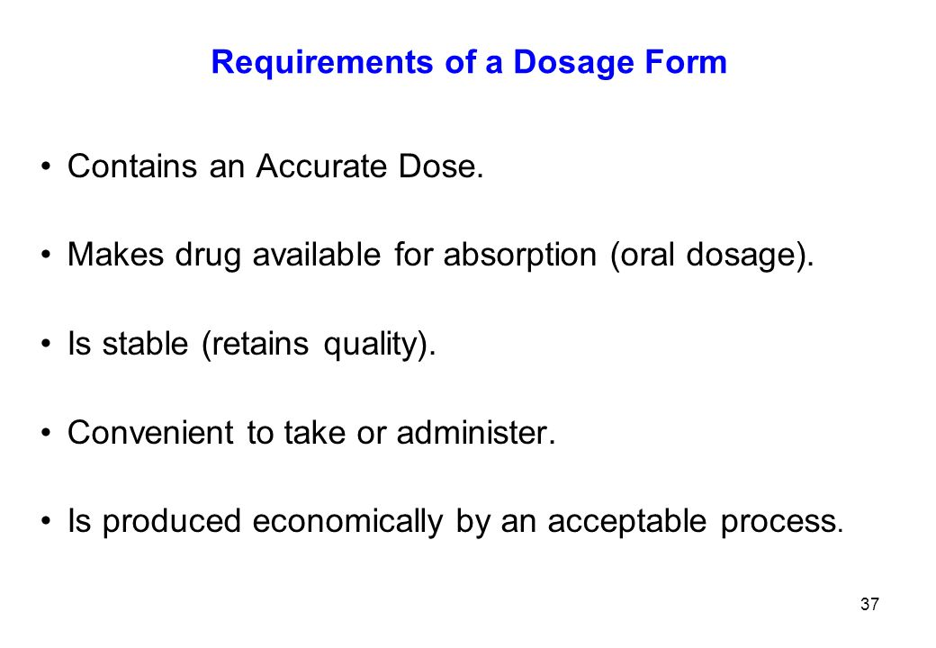 Requirements of a Dosage Form