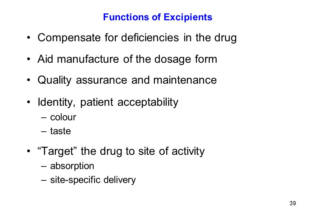 Functions of Excipients