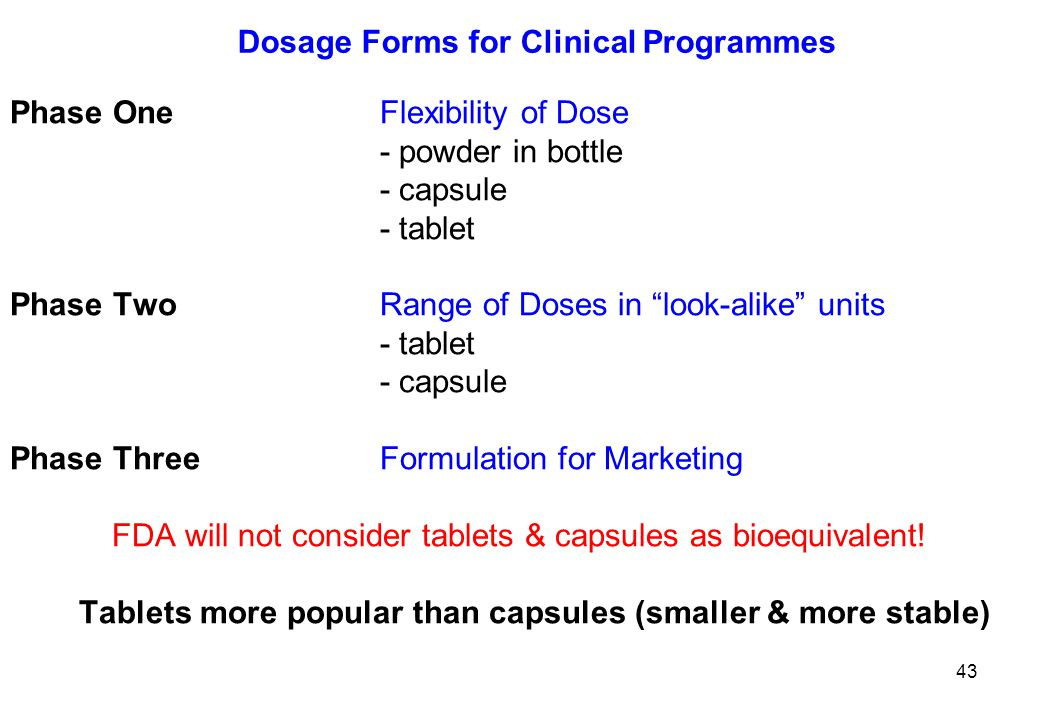 Dosage Forms for Clinical Programmes