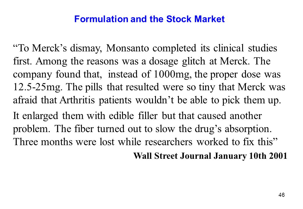 Formulation and the Stock Market