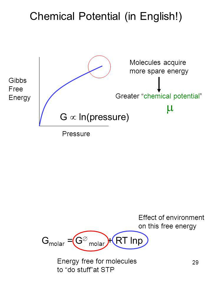  Chemical Potential (in English!) G  ln(pressure)