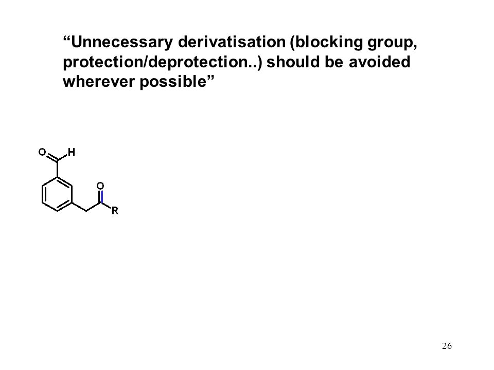 Unnecessary derivatisation (blocking group, protection/deprotection