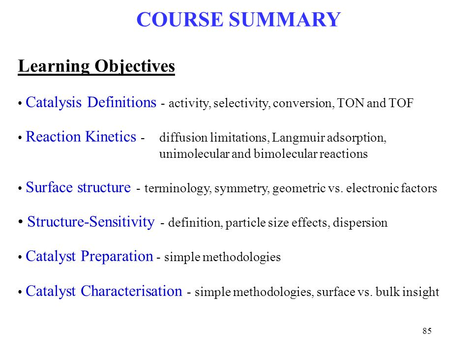 COURSE SUMMARY Learning Objectives