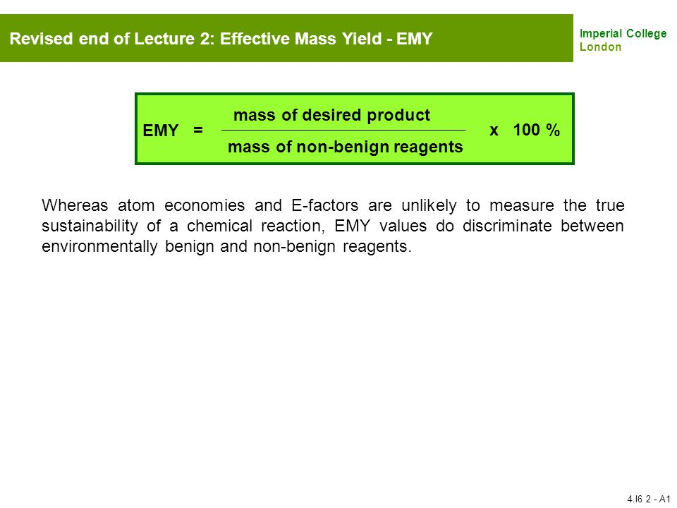 Revised end of Lecture 2: Effective Mass Yield - EMY