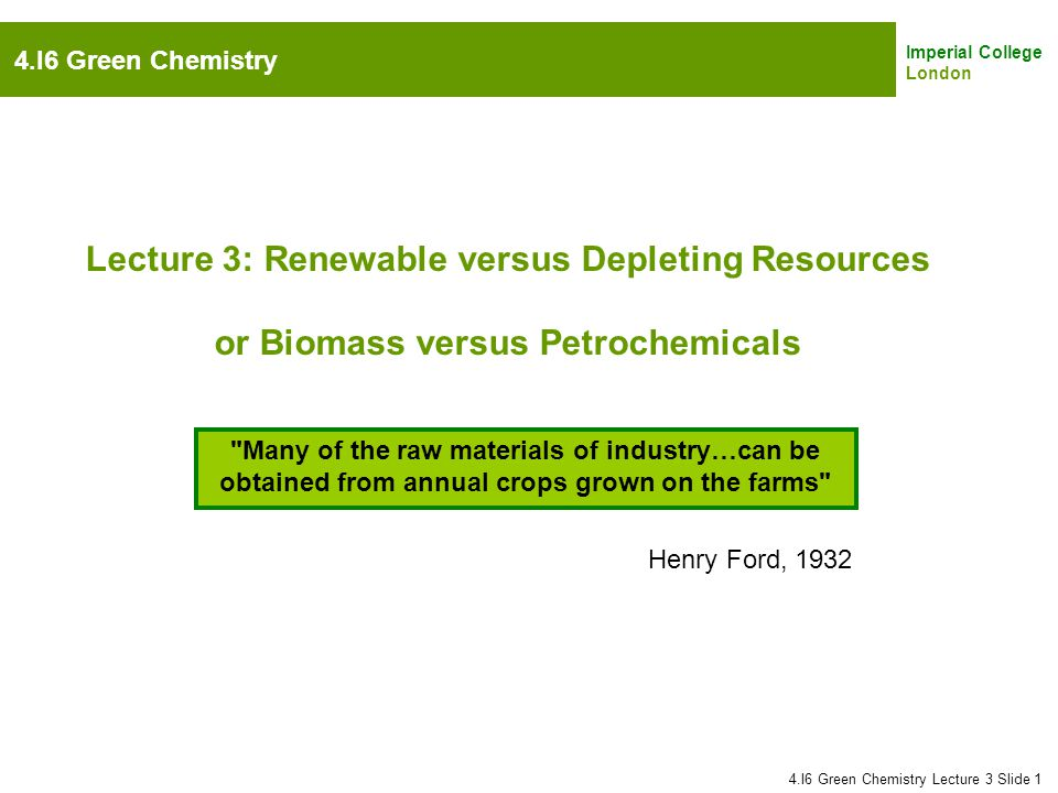 Lecture 3: Renewable versus Depleting Resources