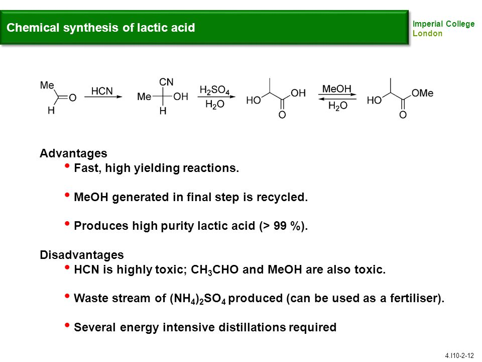 Chemical synthesis of lactic acid